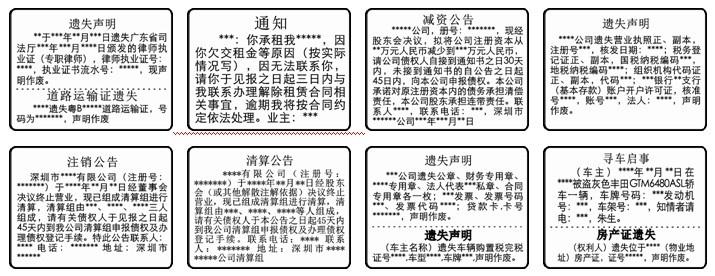 深圳特区报登报格式样本
